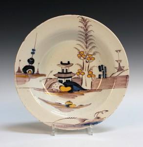 An English polychrome delft circular bowl