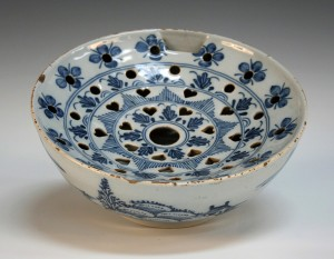 An English delft colander bowl