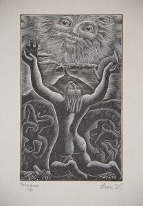 Leon Underwood, Volcano, 1934, wood engraving on paper © The Estate of the Artist and The Redfern Gallery, London