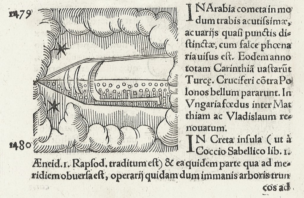 Comet resembling a spaceship over Arabia in 1479 © Toovey's