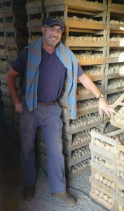 Colin De La Haye in the granite potato sheds at Bel Val Farm, Jersey