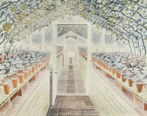 Eric Ravilious, Greenhouse, Cyclamen and Tomatoes, 1935, watercolour and graphite on paper, ©Tate, London 2015