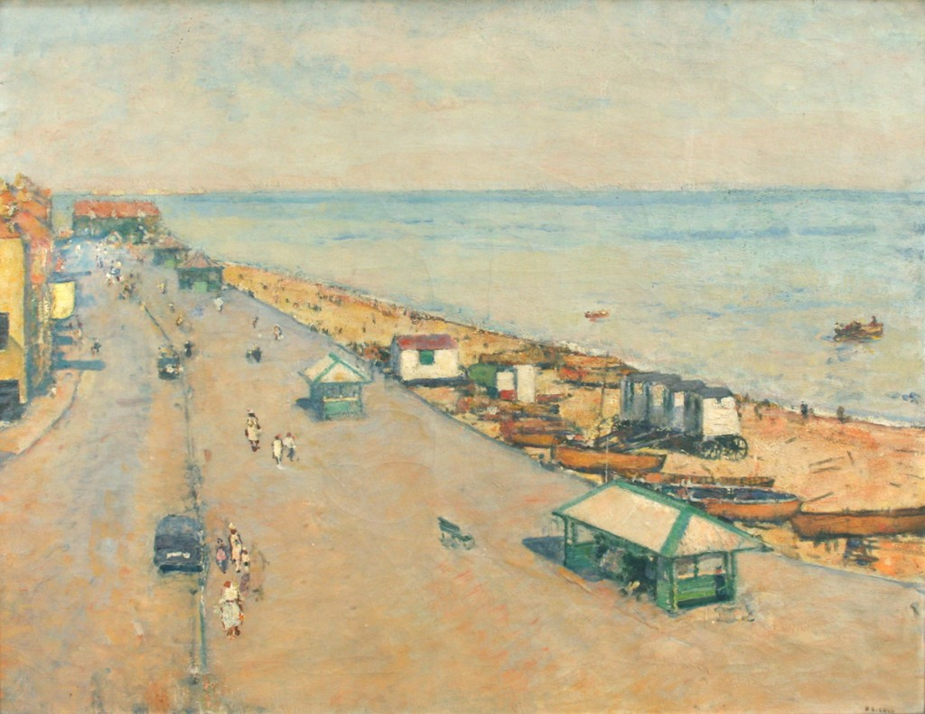 Henry Bishop - View of a Promenade and Beach at Deal in Kent, oil on canvas