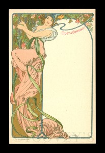 'The Lady in a Pink Dress', a menu card distributed by Moet & Chandon