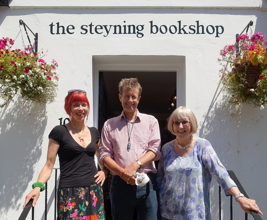 Author, David Boyle, with Gudrun and Sara of the Steyning Bookshop
