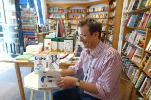 Author, David Boyle, preparing for Steyning Bookshop launch