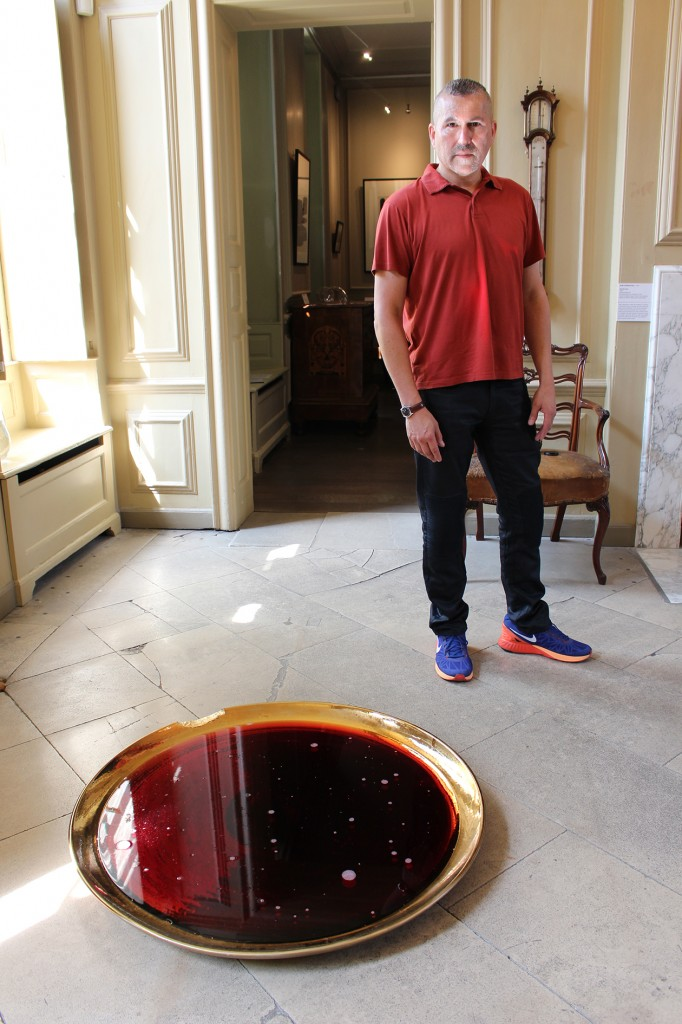 Artist, Michael Petry, with 'Libation to Dionysus'
