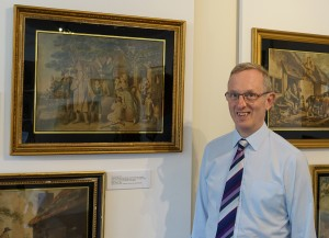 Jeremy Knight with mezzotint engravings of rural scenes after George Morland and William Redmore Bigg