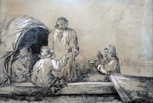 A pencil and watercolour sketch titled 'A Fishing Trip' by George Morland