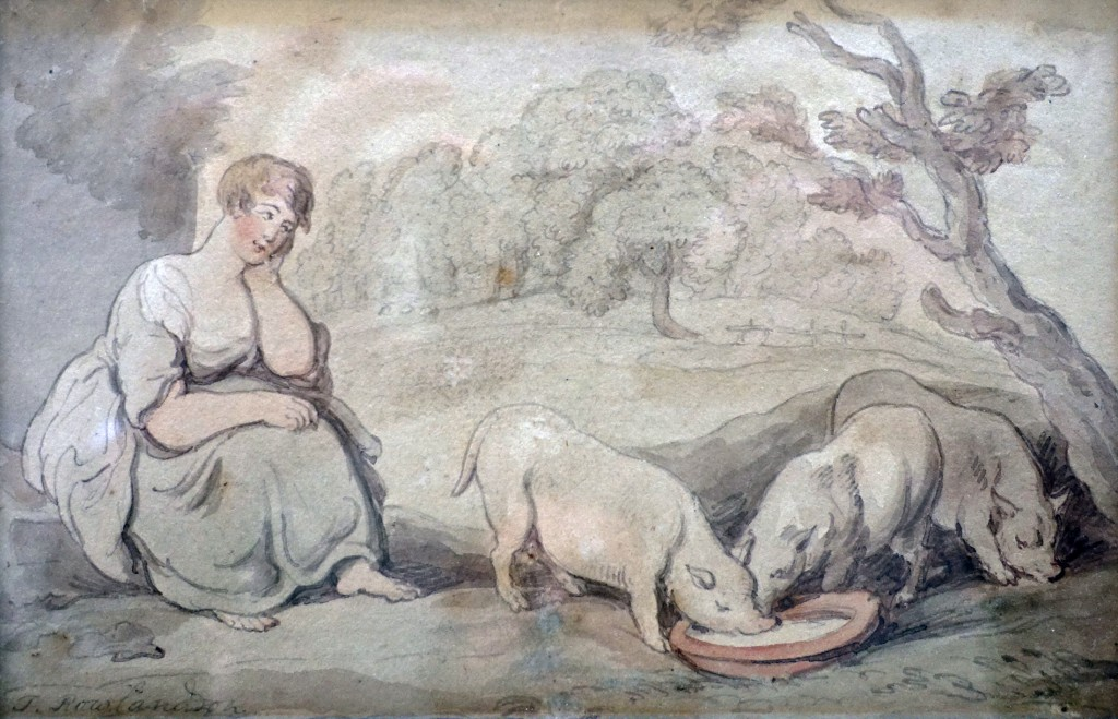 'A Girl feeding Pigs', a watercolour by Thomas Rowlandson