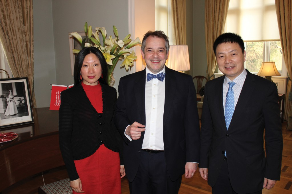 Rupert Toovey pictured here at the British Embassy in Beijing with Dr Qi Qi Jiang of Epai Live and Mr Gan Xuejun from the Chinese auction house, Huachen