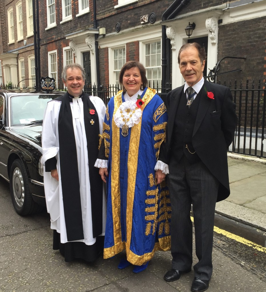 The Lord Mayor of Westminster, the Lady Flight, her Chaplain, the Revd. Rupert Toovey, and the Lord Flight, preparing for the service of Remembrance at Westminster Abbey