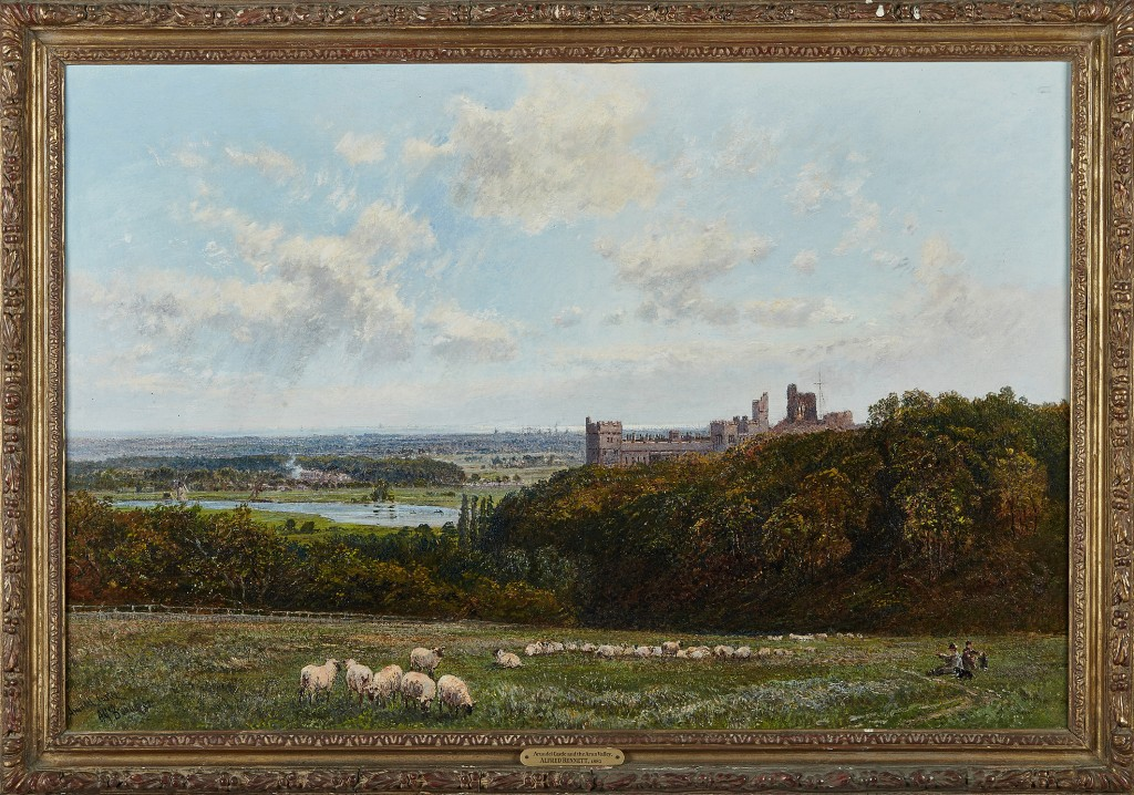 Alfred Bennett – 'Arundel Castle and the Arun Valley', late 19th Century oil on canvas