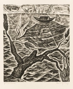 David Jones, The Dove, wood-engraving from Chester Play of the Deluge, 1927 © Trustees of the David Jones Estate/ Amgueddfa Cymru – National Museum Wales