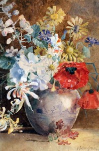 Helen Allingham's watercolour, 'Still Life Study of Flowers in a Vase'