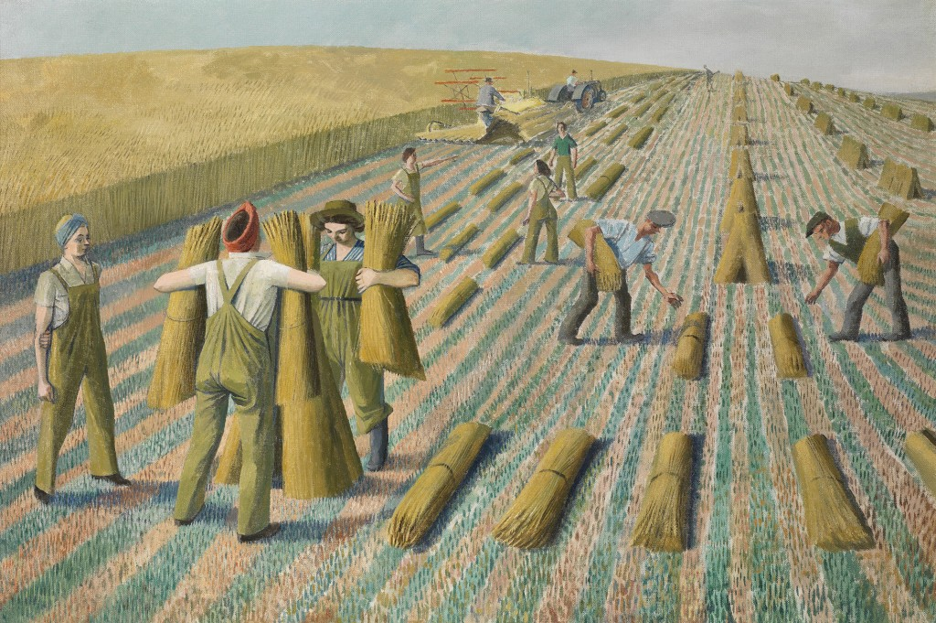 Evelyn Dunbar, Men Stooking and Girls Learning to Stook, 1940, oil on canvas, private collection © The Artist's Estate / Christopher Campbell-Howes