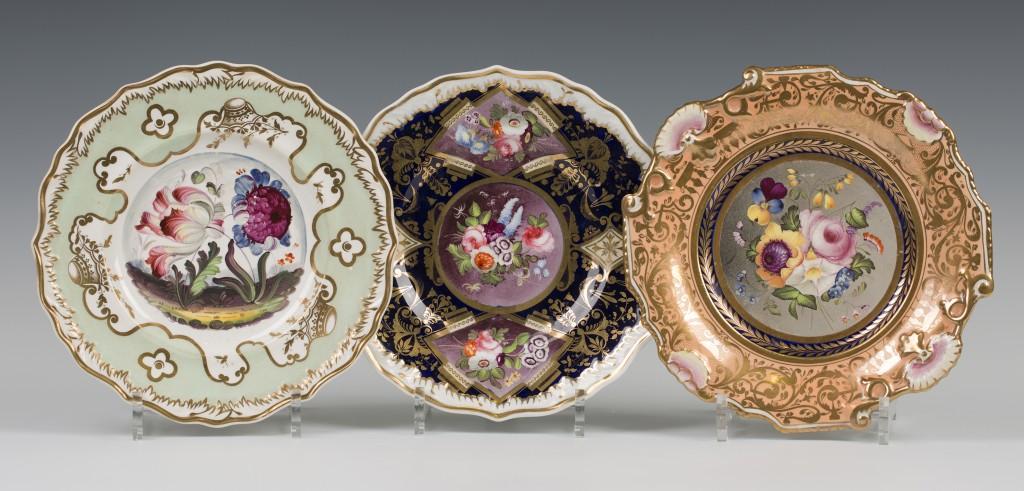 Three Samuel Alcock botanical dessert plates, circa 1830, presale estimate £100-150