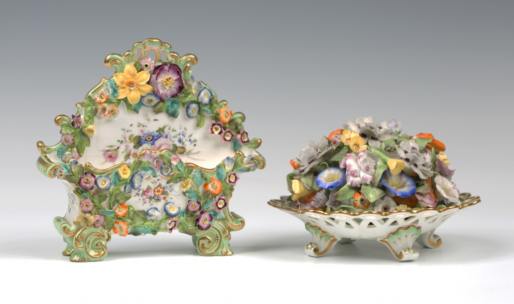 Two rare examples of Minton's flower encrusted porcelain, presale estimate £80-120