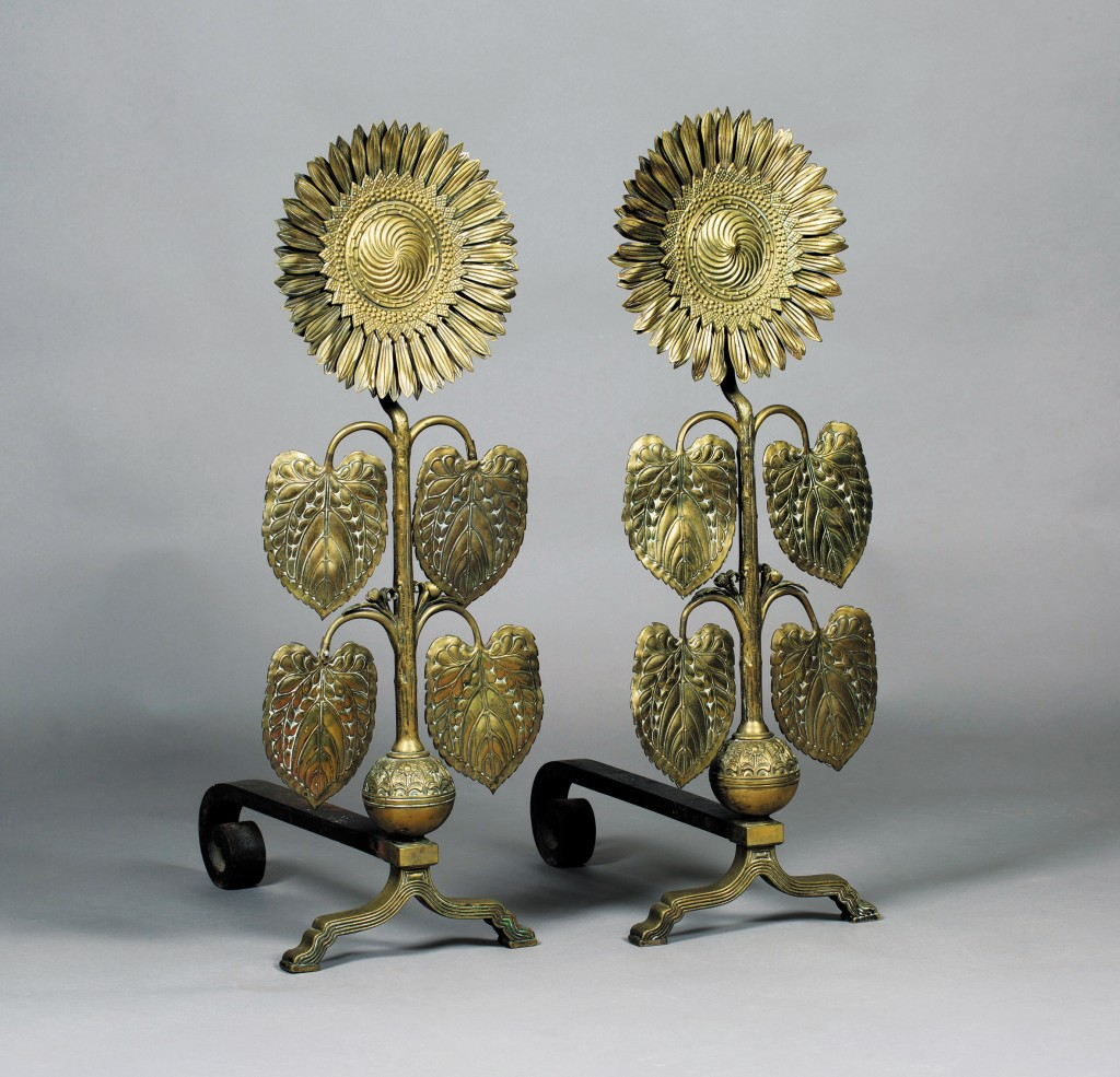 A rare pair of Sunflower Andirons designed by Thomas Jeckyll being auctioned at Toovey's, estimate £10,000-£20,000
