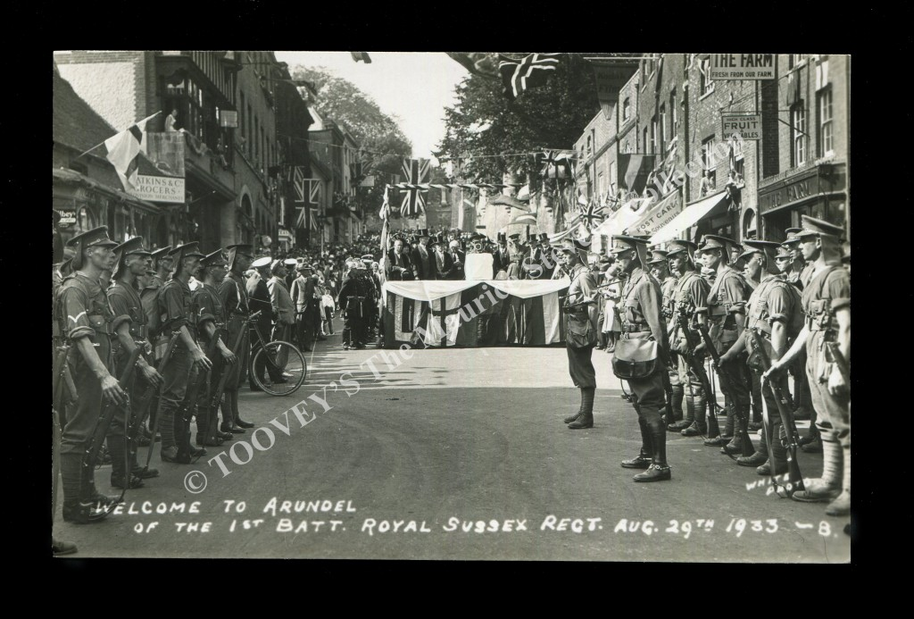 A postcard titled 'Welcome to Arundel of the 1st Batt, Royal Sussex regt. Aug 29th 1933-8'