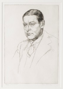 Lot 62 'T.S. Eliot', etching by Edgar Holloway