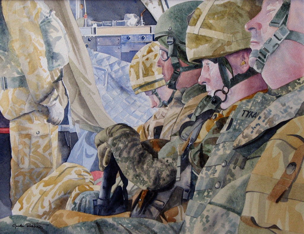A watercolour, 'Flying into Lashkar Gah, Helmand, Afghanistan, 2007'