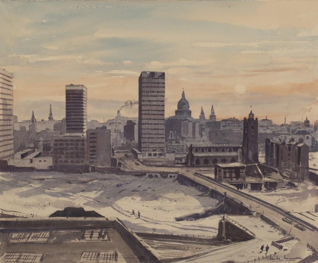 Lot 2 Claude Muncaster 'The Frozen Thames in December', watercolour