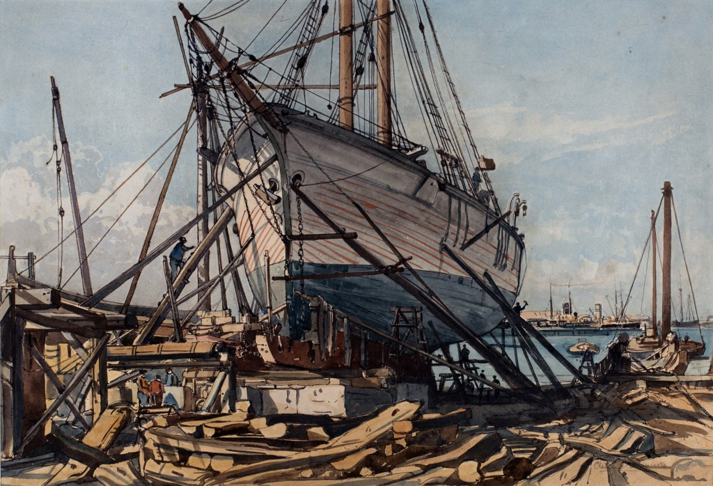 Lot 13 Claude Muncaster 'Majorcan Shipbuilding Yard (Palma)', watercolour