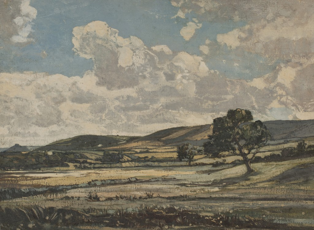 Lot 33 Claude Muncaster 'Downs from Bury Gate Marshes', oil on canvas