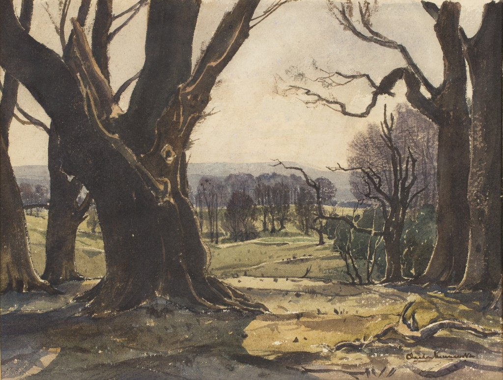 Lot 37 Claude Muncaster 'View from the Fifth Tee, Cowdray', watercolour