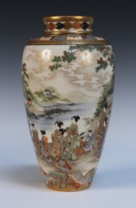 A Japanese Satsuma earthenware vase by Ryozan for the Yasuda Company