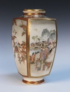 A Japanese Satsuma earthenware vase by Kinkōzan