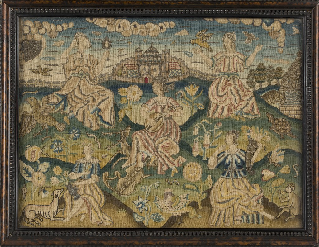 A fine 17th Century stumpwork rectangular panel depicting a group of five ladies, representing the senses