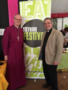 The Rt Revd. Mark Sowerby, Bishop of Horsham and the Revd. Rupert Toovey celebrating Her Majesty the Queen's 90th birthday with Steyning's community