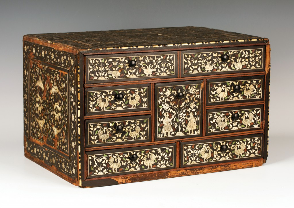 A product of global trade in the late 17th/early 18th Century, this Indo-Portuguese ivory inlaid table-top chest sold for £11,000 at Toovey's