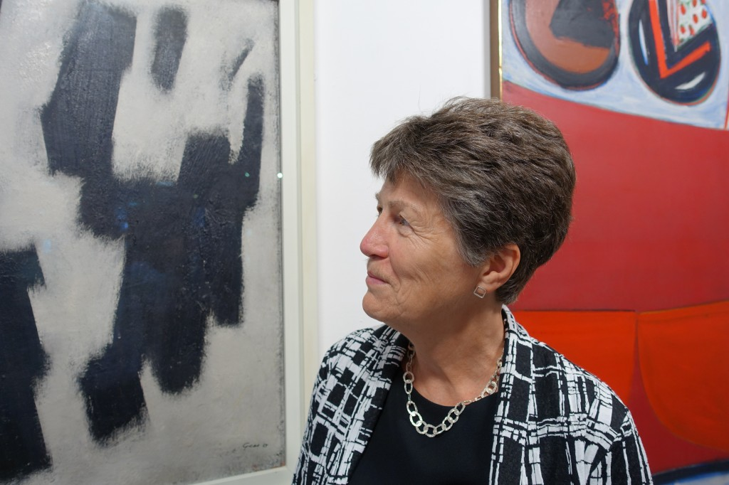 Visiting Professor and Guest Curator Gill Clarke in the Otter Gallery