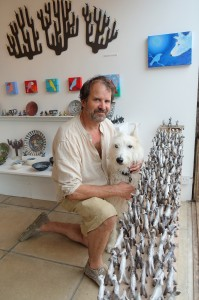 Potter, Josse Davis with Stanley the dog and his ceramic sculpture 'Parliament of Dogs'
