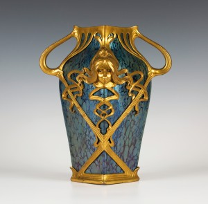 This Art Nouveau Loetz iridescent glass Papillon vase with gilt mounts designed by Gustav Gurschner sold for £2,400 at Toovey's