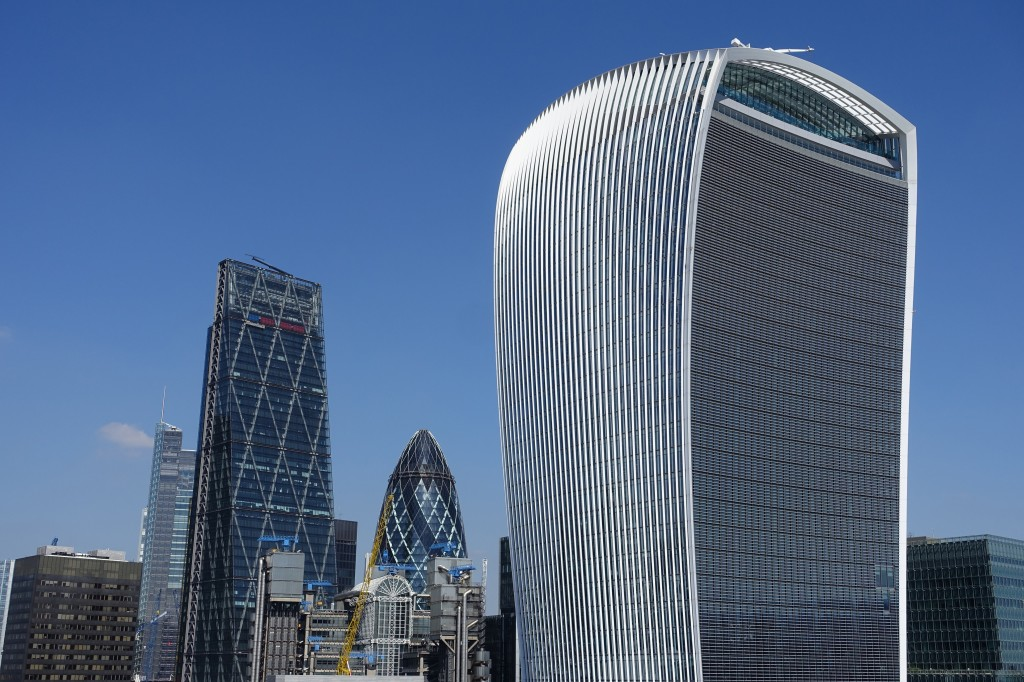 The contemporary 'Gherkin', 'Walkie-talkie' and 'Cheese-grater' buildings viewed from Wren's Monument