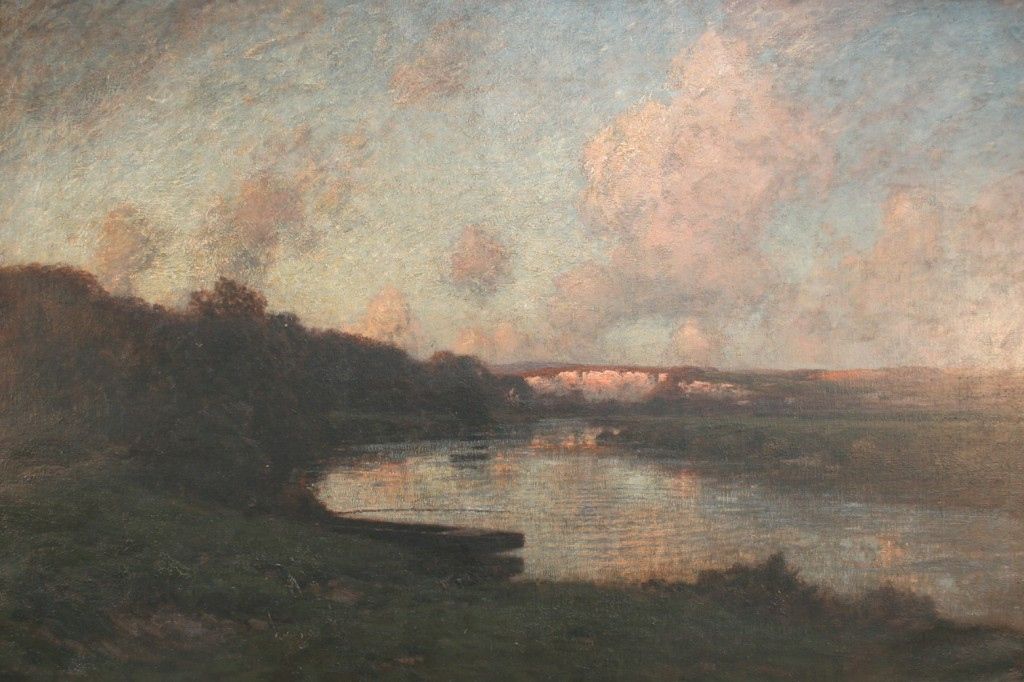 José Weiss' oil painting of the River Arun and Amberley chalk pits at dusk