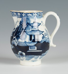 A Lowestoft blue and white porcelain sparrow beak cream jug, circa 1775