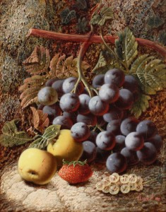 Oliver Clare's Still Life of Quince, Grapes and Berries, in Naturalistic Setting