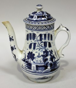 A Bow blue and white porcelain coffee pot and cover, circa 1765