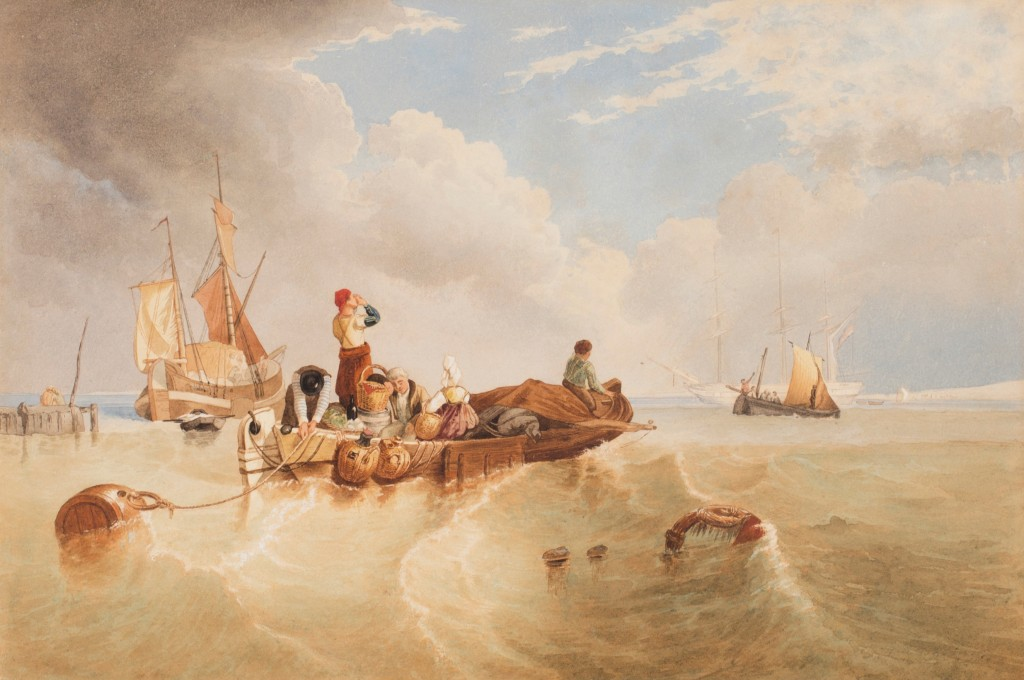 Clarkson Frederick Stanfield RA (1793-1867), Study for the oil painting A Market Boat on the Scheldt, circa 1826, donated by Toovey's Auctioneers & Valuers to Horsham Museum and Art Gallery's Watercolour Collection