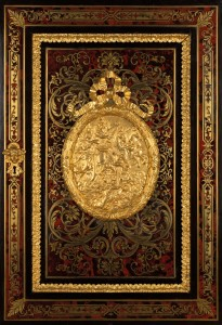 Detail of a mid-19th century French Louis XVI revival red tortoiseshell Boulle marquetry cabinet door