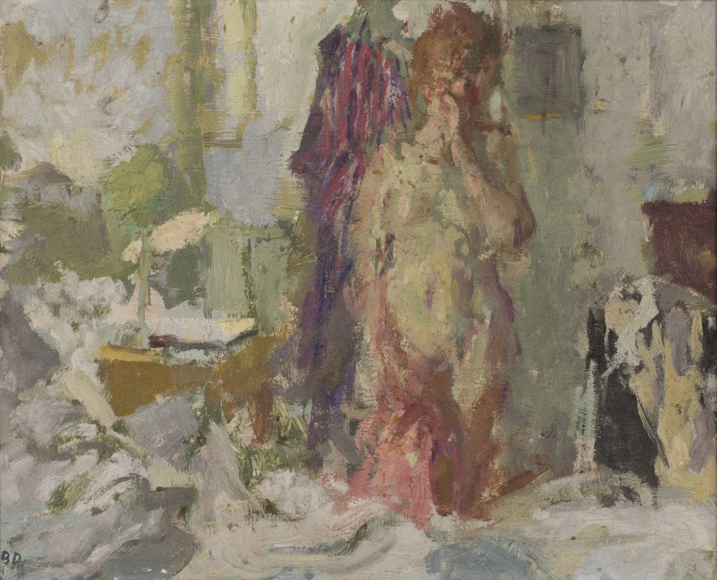 Bernard Dunstan - 'Going to Bed', oil on board, signed with initials