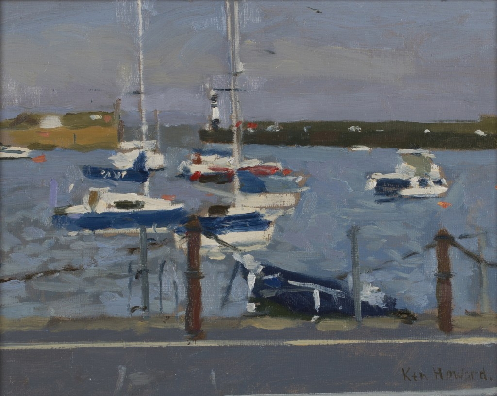 Ken Howard - 'Newlyn High Water', oil on canvas-board, dated 2014