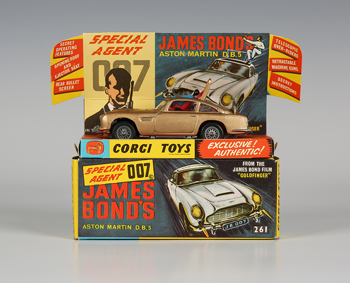 A Corgi Toys No. 261 James Bond's Aston Martin DB5 with diorama box, two bandits, secret instructions and envelope