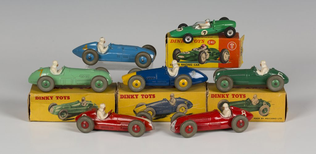 Seven Dinky Toys post-war model racing cars