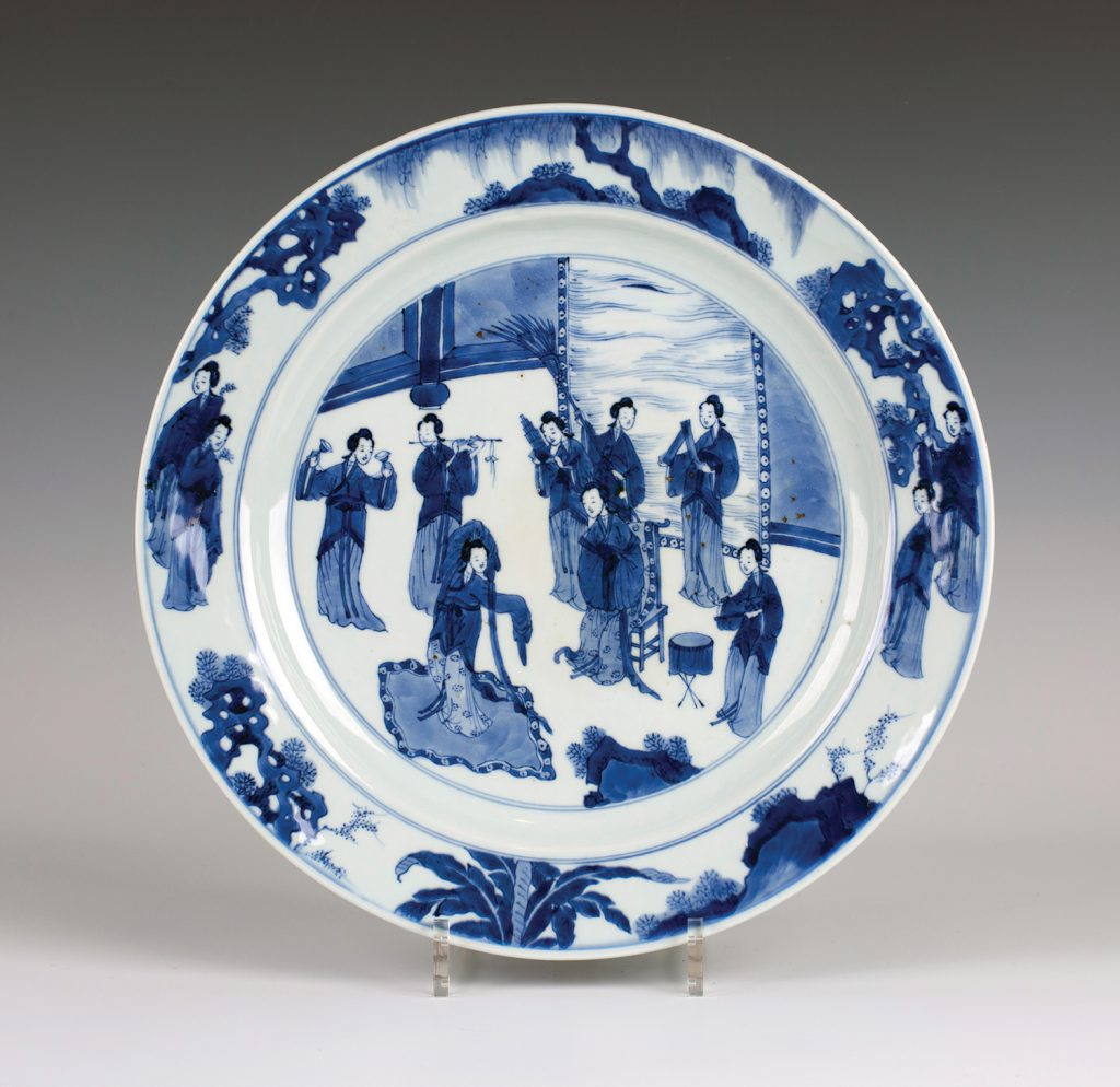 A Chinese blue and white Kraak porcelain dish, late Ming dynasty, from the Wanli period